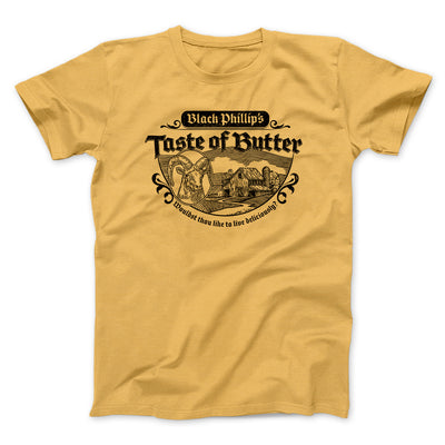 Black Phillip's Taste Of Butter Men/Unisex T-Shirt-T-Shirt-Printify-Maize Yellow-S-Famous IRL