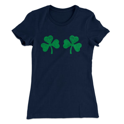 Shamrock Bra Women's T-Shirt-Solid Midnight Navy - Famous IRL
