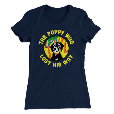 The Puppy Who Lost His Way Women's T-Shirt-Solid Midnight Navy - Famous IRL