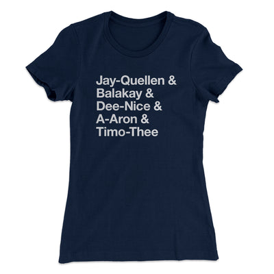Substitute Teacher Names Women's T-Shirt-Solid Midnight Navy - Famous IRL
