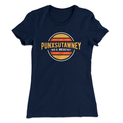 Punxsutawney Bed and Breakfast Women's T-Shirt-Solid Midnight Navy - Famous IRL
