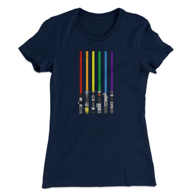Lightsaber Color Rainbow Women's T-Shirt-Solid Midnight Navy - Famous IRL