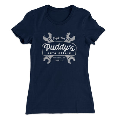 Puddy's Auto Repair Women's T-Shirt-Solid Midnight Navy - Famous IRL