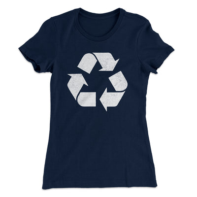 Recycle Symbol Women's T-Shirt-Solid Midnight Navy - Famous IRL