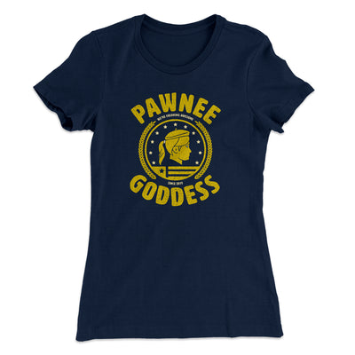 Pawnee Goddess Women's T-Shirt-Solid Midnight Navy - Famous IRL