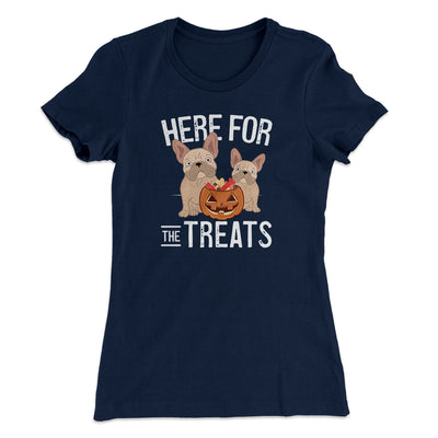 Here For The Treats Women's T-Shirt-Women's T-Shirt-White Label DTG-Midnight Navy-S-Famous IRL