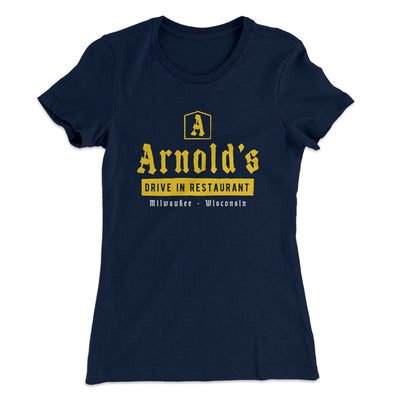 Arnold's Drive In Women's T-Shirt-Solid Midnight Navy - Famous IRL