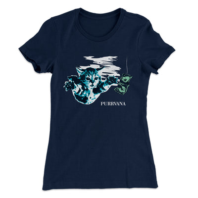 Purrvana Women's T-Shirt-Solid Midnight Navy - Famous IRL