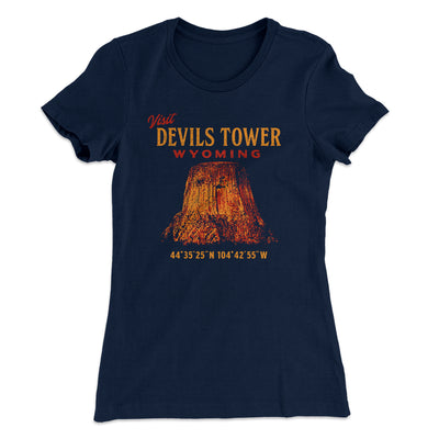 Visit Devils Tower Women's T-Shirt-T-Shirt-Printify-Solid Midnight Navy-S-Famous IRL