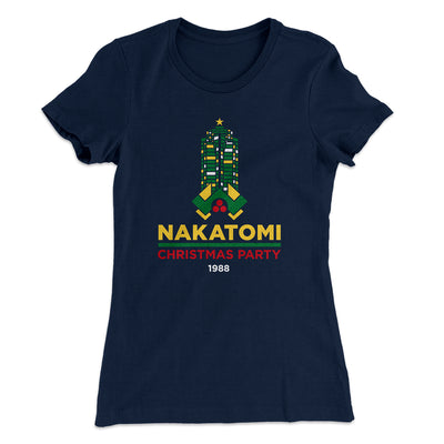 Nakatomi Christmas Party Women's T-Shirt-Solid Midnight Navy - Famous IRL