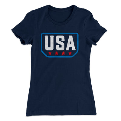 USA Badge Logo Women's T-Shirt-Solid Midnight Navy - Famous IRL