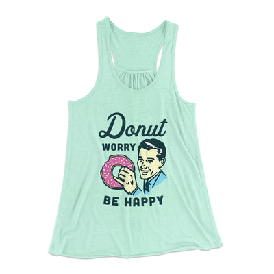 Donut Worry Be Happy Women's Flowey Racerback Tank Top-Mint - Famous IRL