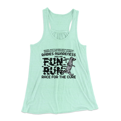 Rabies Awareness Fun Run Women's Flowey Racerback Tank Top-Mint - Famous IRL