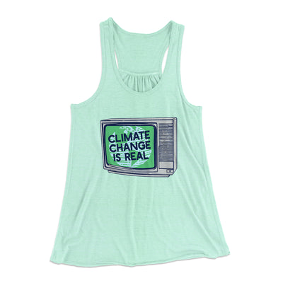 PSA: Climate Change is Real Women's Flowey Racerback Tank Top-Mint - Famous IRL