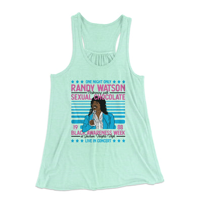 Randy Watson Sexual Chocolate Women's Flowey Racerback Tank Top-Mint - Famous IRL