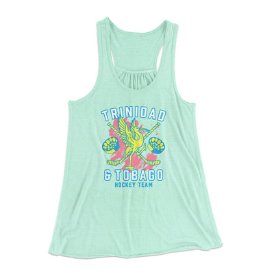 Trinidad & Tobago Hockey Women's Flowey Tank Top-Women's Flowey Racerback Tank Top-White Label DTG-Mint-XS-Famous IRL