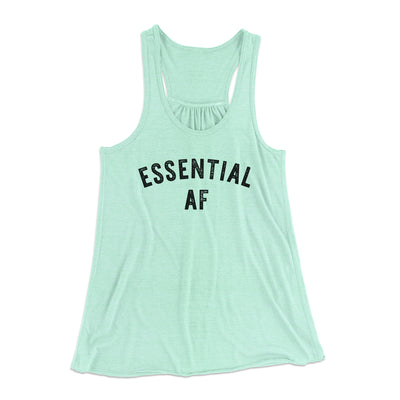 Essential AF Women's Flowey Tank Top-Women's Flowey Racerback Tank Top-White Label DTG-Mint-XS-Famous IRL