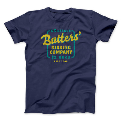 Butter's Kissing Company Men/Unisex T-Shirt-Men/Unisex T-Shirt-White Label DTG-Navy-S-Famous IRL