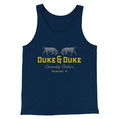 Duke and Duke Commodity Brokers Men/Unisex Tank-Heather Navy - Famous IRL