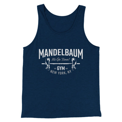 Mandelbaum Gym Men/Unisex Tank-Heather Navy - Famous IRL