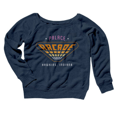 Palace Arcade Women's Off The Shoulder Sweatshirt-Navy TriBlend - Famous IRL