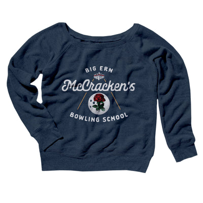 Big Ern McCracken's Bowling School Women's Off The Shoulder Sweatshirt-Navy TriBlend - Famous IRL