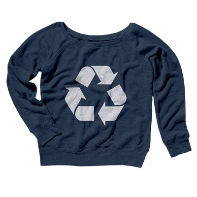 Recycle Symbol Women's Off The Shoulder Sweatshirt-Navy TriBlend - Famous IRL