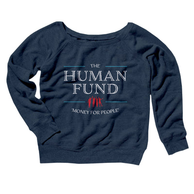 The Human Fund Women's Off The Shoulder Sweatshirt-Navy TriBlend - Famous IRL