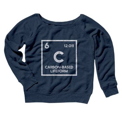 Carbon Based Lifeform Women's Off The Shoulder Sweatshirt-Navy TriBlend - Famous IRL