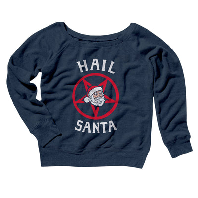Hail Santa Women's Off The Shoulder Sweatshirt-Navy TriBlend - Famous IRL