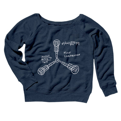 Flux Capacitor Women's Off The Shoulder Sweatshirt-Navy TriBlend - Famous IRL