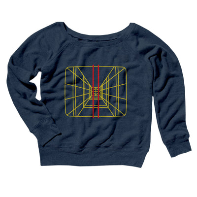 Stay On Target Women's Off The Shoulder Sweatshirt-Navy TriBlend - Famous IRL
