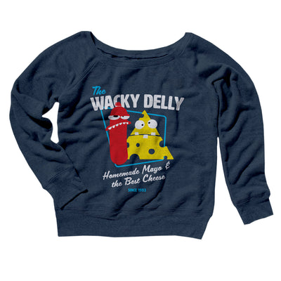 The Wacky Delly Women's Off The Shoulder Sweatshirt-Navy TriBlend - Famous IRL