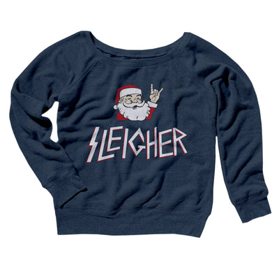 Sleigher Women's Off The Shoulder Sweatshirt-Navy TriBlend - Famous IRL