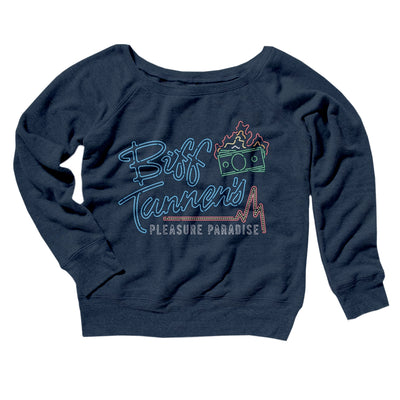 Biff Tannen's Pleasure Paradise Women's Off The Shoulder Sweatshirt-Navy TriBlend - Famous IRL