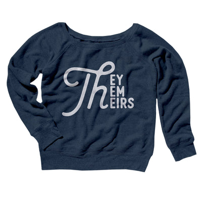 They, Them, Theirs Women's Off The Shoulder Sweatshirt-Navy TriBlend - Famous IRL