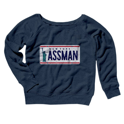 Assman Women's Off The Shoulder Sweatshirt-Navy TriBlend - Famous IRL