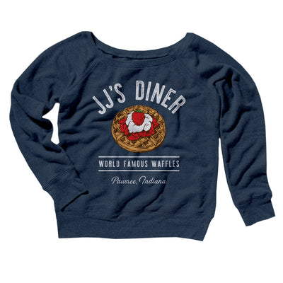 JJ's Diner Women's Off The Shoulder Sweatshirt-Navy TriBlend - Famous IRL