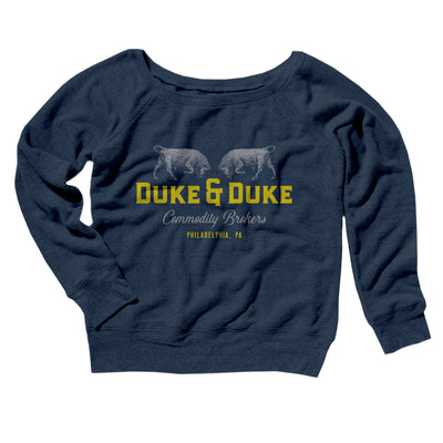 Duke and Duke Commodity Brokers Women's Off The Shoulder Sweatshirt-Navy TriBlend - Famous IRL