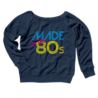 Made In The 80s Women's Scoopneck Sweatshirt-Women's Off The Shoulder Sweatshirt-White Label DTG-Navy TriBlend-S-Famous IRL
