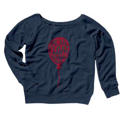We All Float Down Here Women's Off The Shoulder Sweatshirt-Navy TriBlend - Famous IRL