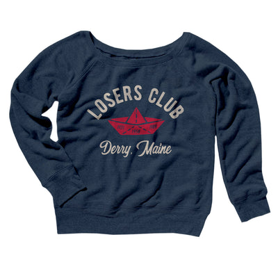 Losers Club Women's Off The Shoulder Sweatshirt-Navy TriBlend - Famous IRL