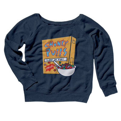 Chunky Puffs Women's Off The Shoulder Sweatshirt-Navy TriBlend - Famous IRL
