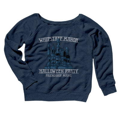 Whipstaff Manor Halloween Party Women's Scoopneck Sweatshirt-Sweatshirt-Printify-Navy TriBlend-S-Famous IRL