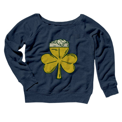 Beer Shamrock Women's Off The Shoulder Sweatshirt-Navy TriBlend - Famous IRL