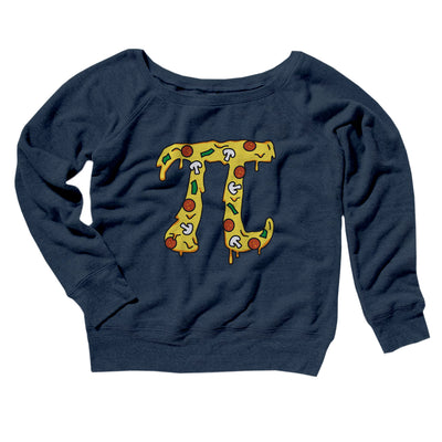 Pizza Pi Women's Off The Shoulder Sweatshirt-Navy TriBlend - Famous IRL