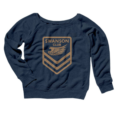 Swanson Club Women's Off The Shoulder Sweatshirt-Navy TriBlend - Famous IRL