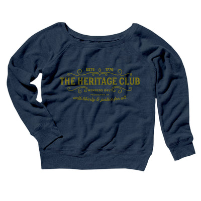 The Heritage Club Women's Off The Shoulder Sweatshirt-Navy TriBlend - Famous IRL