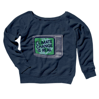 PSA: Climate Change is Real Women's Off The Shoulder Sweatshirt-Navy TriBlend - Famous IRL