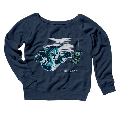 Purrvana Women's Off The Shoulder Sweatshirt-Navy TriBlend - Famous IRL